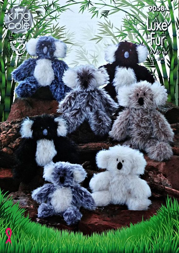 King Cole DK Luxe Fur Owls Large Medium Small Toy Knitting pattern  9024