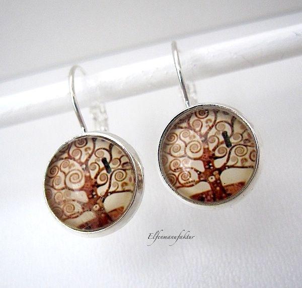 Zilveren oorbellen glas cabochons van Elfenmanufaktur op DaWanda.com