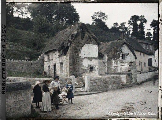English Cottage: Colour Photos, Cornwall Village, Cottage, Color Photo, Vintage Photography, Decayed Thatch, Cornwall England