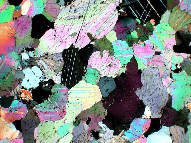 Calcite crystal as seen under a polarizing microscope. Field of view ~ 3 mm. by stef_climber, via Flickr