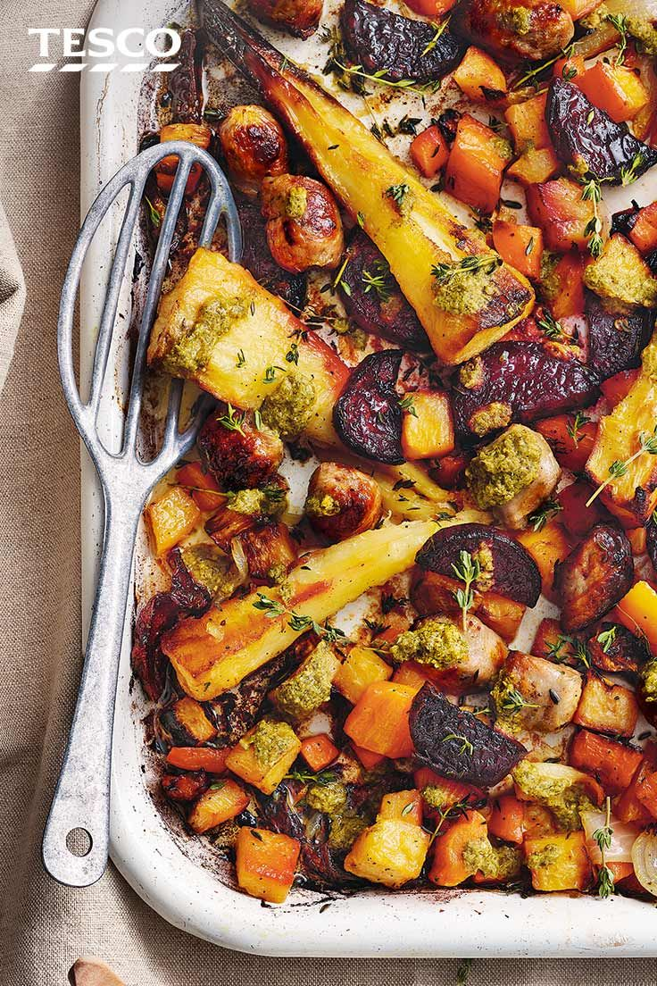 Sausage And Veg Traybake With Pesto Sauce Recipe In 2020 Quorn Recipes Food Recipes Food