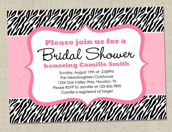 Zebra Bridal Shower Invitation  pink black animal by miragreetings, $14.00