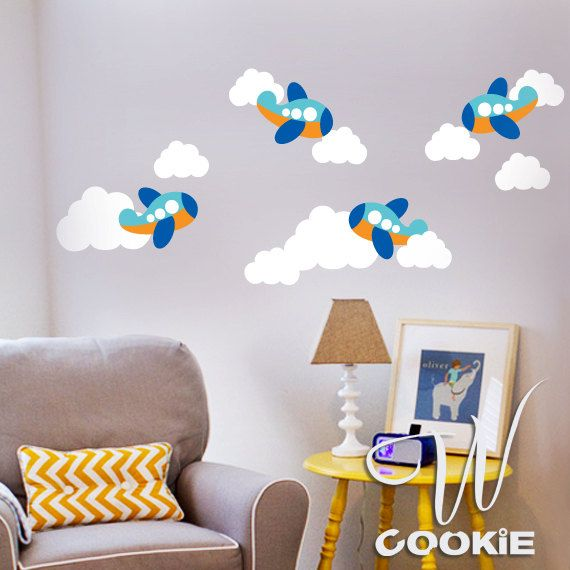 Airplanes Wall sticker  Peel and Stick Removable by wcookie, $35.00