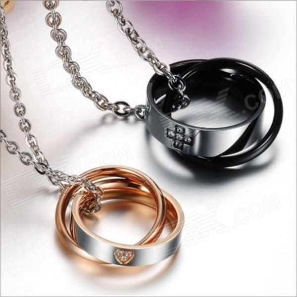 GX828 Cross Love Heart Titanium Steel Couple's Necklaces - Golden + Silver + Black (2 PCS) - Free Shipping - DealExtreme