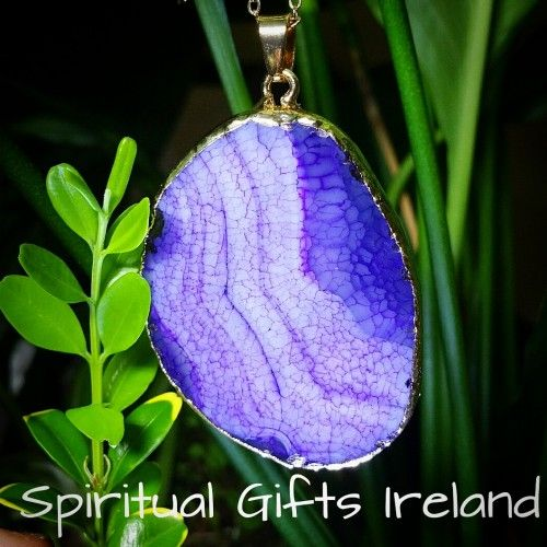 Inanna Purple Agate Pendant Visit our store at www.spiritualgiftsireland.com  Follow Spiritual Gifts Ireland on www.facebook.com/spiritualgiftsireland www.instagram.com/spiritualgiftsireland www.etsy.com/shop/spiritualgiftireland We are also featured on Tumblr 🔮Clear Quartz is known as the 'Master Healer'.  Wearing it opens the mind and heart to receive messages from the divine, cleanse our chakras and diminish negative energy.  It enhances our psychic abilities helping us to concentrate…