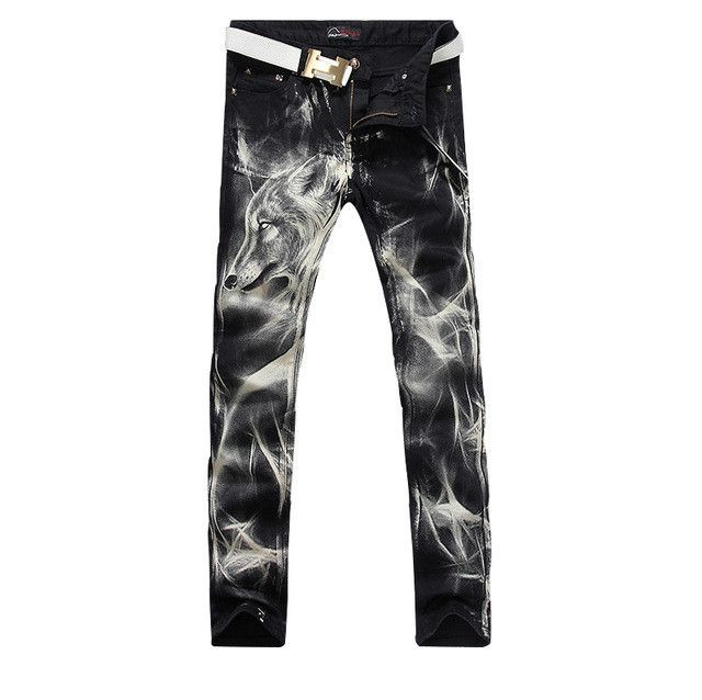 New fashion Men's wolf printed jeans men slim straight Black stretch jeans high quality designer pants nightclubs singers