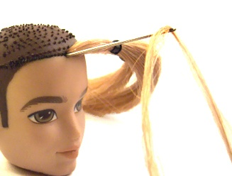 Rerooting Doll Hair: Knot Method.   (Note from Sarah Sequins: looks like this method is the one I use, pushing the needle through the scalp and then through the neck hole instead of the other way around. I find it easier because you don't have to fish around for the scalp hole. Less finger jabbing that way.)