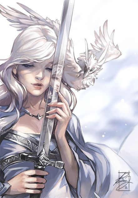 Lady of the Mists. Beautiful woman with white hair in a silvery dress.