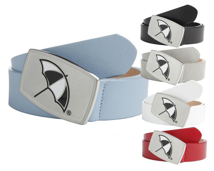Leather Strap Belt with an Arnie™ Umbrella Logo Inlay Plaque Buckle in Nickel - $60.00 - Arnie™ Belts