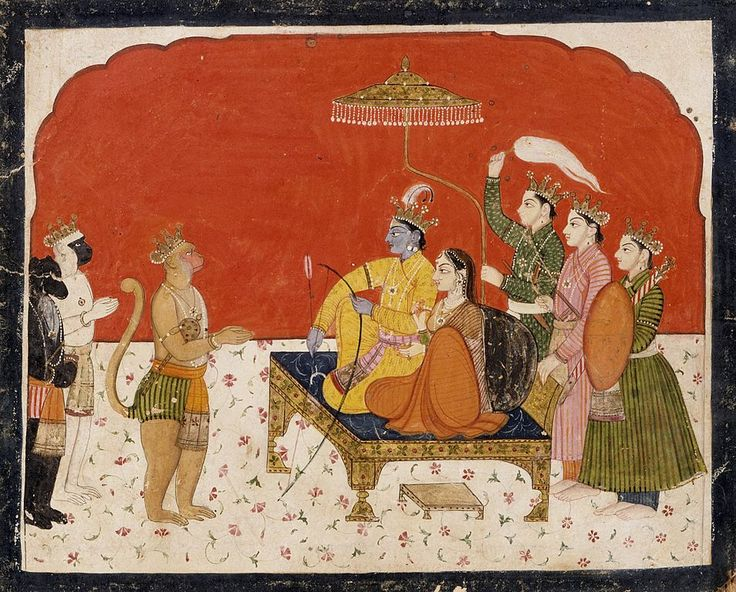 Rama's Court, Folio from a Ramayana (Adventures of Rama) Description English: India, Himachal Pradesh, Chamba, 1775-1800 Drawings; watercolors Opaque watercolor and gold on paper
