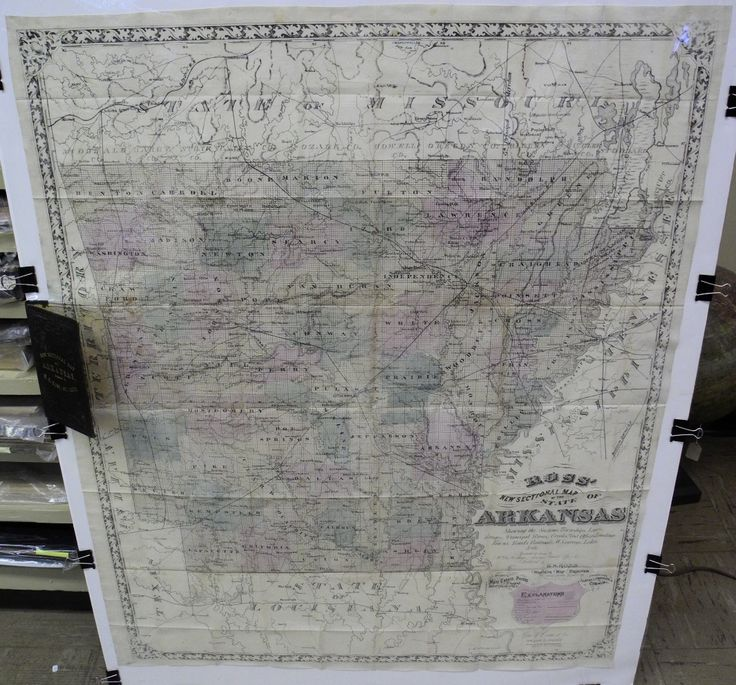 Ross' New Sectional Map of the State of Arkansas...  E. H. Ross - Western Map Emporium, Wm. A. Mosberger with A(lexander) McLean, litho(grapher) Geo F Cram & Co / 148 Lake St. Chicago. c1873. Very Rare, Large-Scale Pocket Map of Arkansas...