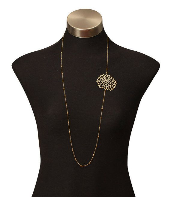 Long chain necklace Single daisy chain by DouryAccessories
