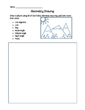 Students draw a picture using line segments, lines, rays, acute angles, obtuse angles, right angles, and points. This is a fun, creative way for students to review basic geometry terms!