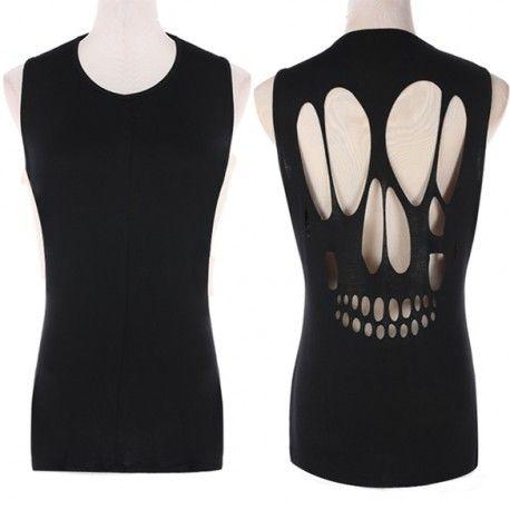 T-shirt découpe crane au dos. T-shirt long, sans manche. Avec une tête de mort découper (ajourée) dans le dos.