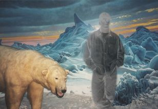 Pepík with a Bear, collage, 100 x 68 cm, 2004