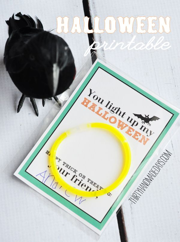"Quick non-candy treat for your friends- ""You light up my Halloween"" glow-stick idea with printable from @30daysblog."