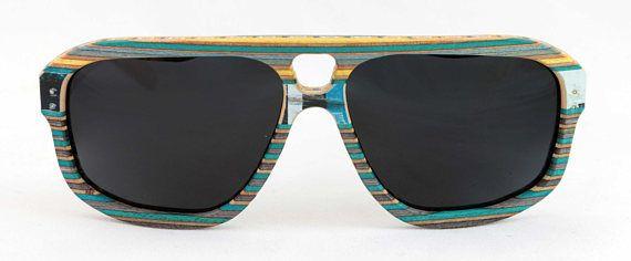 Recyled skateboard wood sunglasses. Blue Combi 5-0