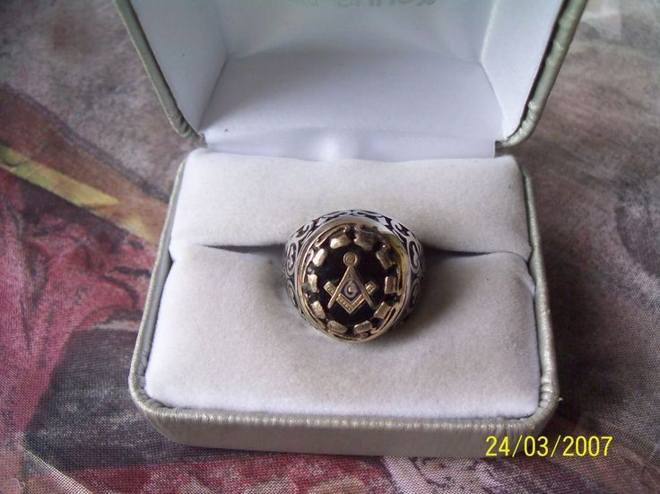 Vintage Sterling Silver 925 Masonic Ring Inlay with Black Glass Stone  Size 10