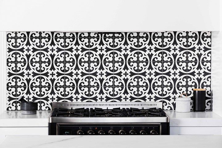 Black and white tiled kitchen | Home Beautiful Magazine Australia
