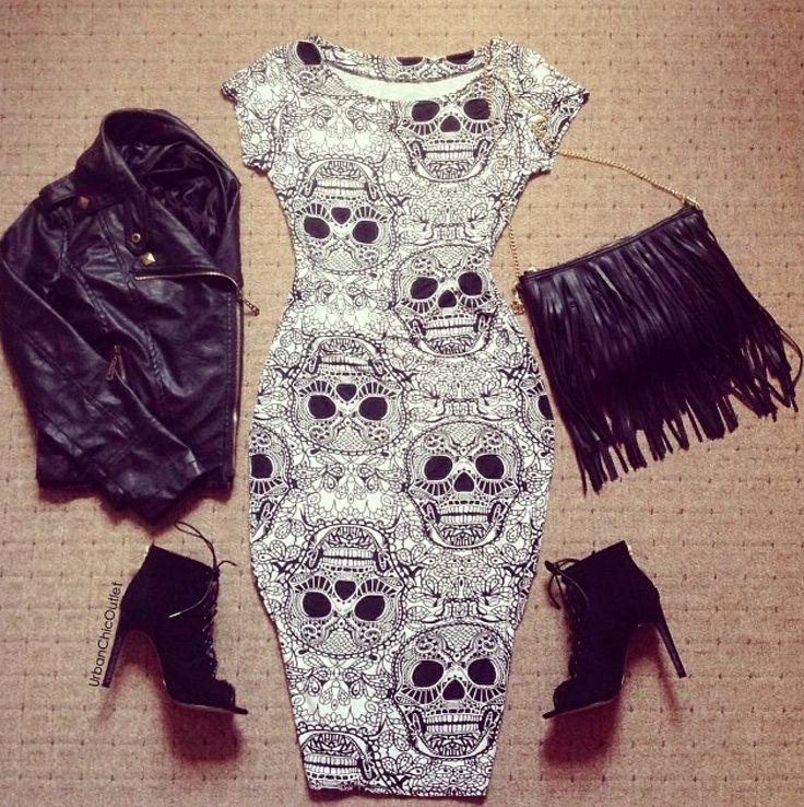 Sugar skull dress!! Leather jacket!! Black booties!!