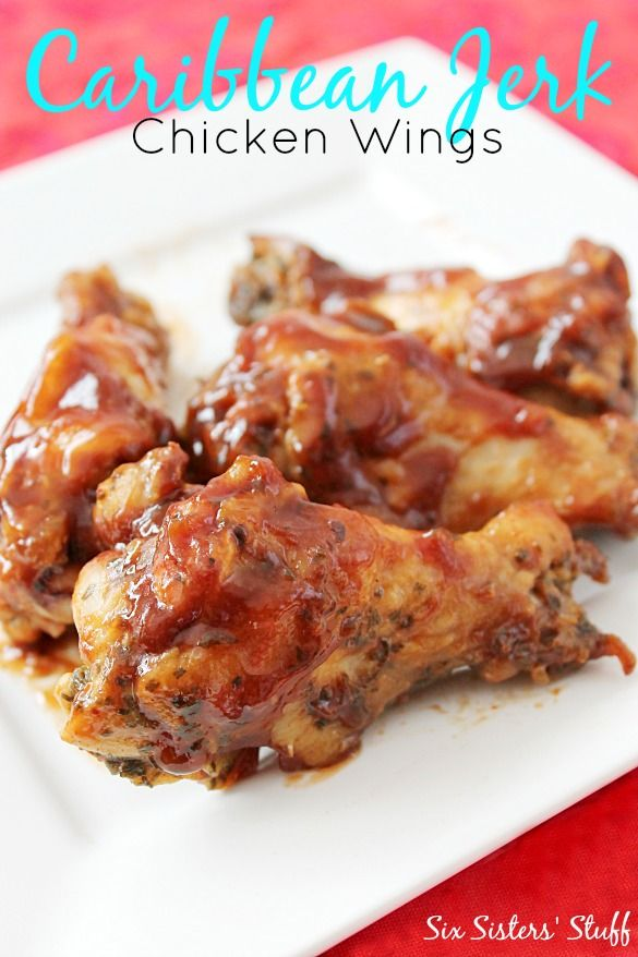 Caribbean Jerk Chicken Wings from SixSistersStuff.com. Perfect for your Super Bowl Party!