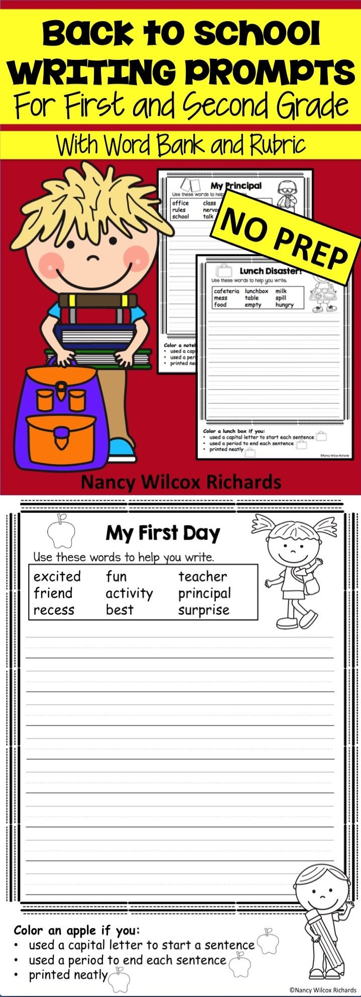 Back to school writing prompts that are fun for K-2! Includes a word bank and rubric!