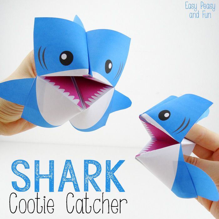 Origami for Kids Shark Cootie Catchers  These are very easy to make and only takes about 5 minutes to do (not counting the time the kids take painting them).