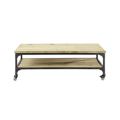 Metalen en houten industriële salontafel op wieltjes B 110 cm