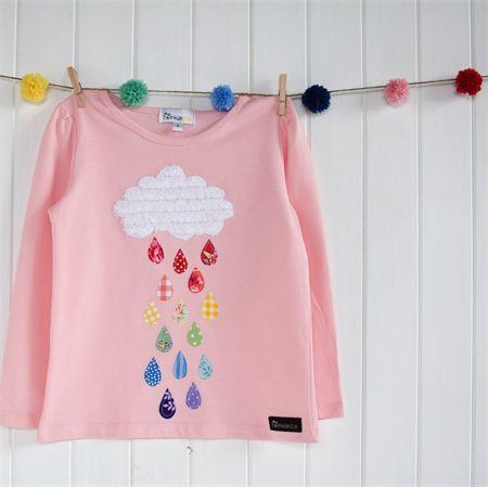 """Rainy Day"" Sizes 1-7 Rainbow, pink, girls, applique"