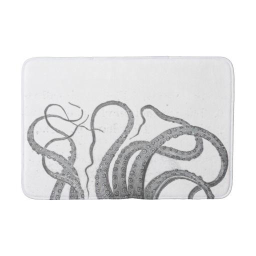 Nautical octopus tentacles vintage kraken steampun bath mats