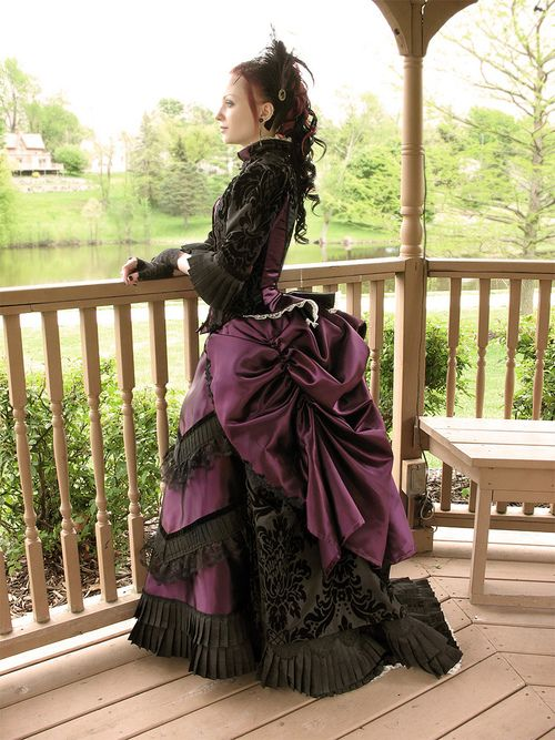 Purple Black Neo Victorian Gown with Bustle and Pleated Ruffles - Time Travel Costumes