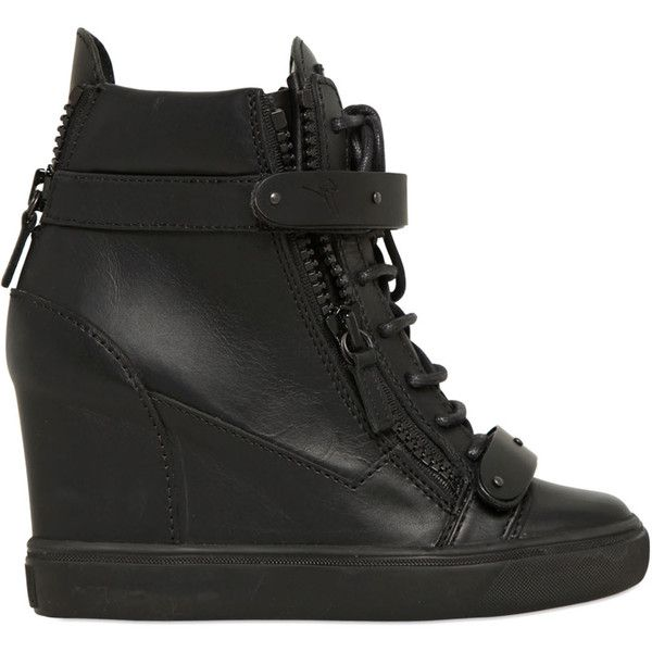 GIUSEPPE ZANOTTI 90mm Zip Leather Wedged Sneakers ($995) ❤ liked on Polyvore featuring shoes, sneakers, giuseppe zanotti, wedges, black, black hi top sneakers, high top wedge sneakers, leather sneakers, wedge sneaker shoes and black high tops