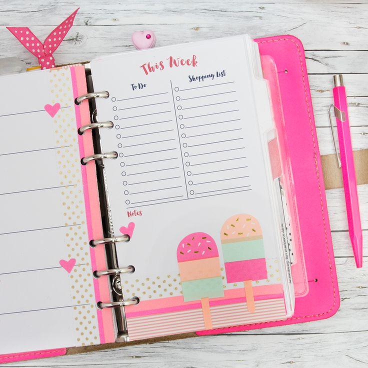 Filofax Original Fluro Pink Planner Decorated with Ice Cream Stickers #Planner #WashiTape