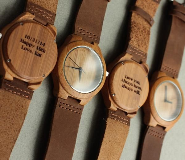 Tree Hut Wooden Watch | This wooden Tree Hut watch has genuine brown leather bands and is handmade in San Francisco from real wood with blue accents.