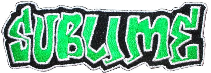 "[Single Count] Custom and Unique (4 1/4"" by 1 1/4"" Inches) Classic Band Logo Ska Punk Rock Merchandise Merch ""Sublime"" Iron On Embroidered Applique Patch {Green, White, and Black Colors}"