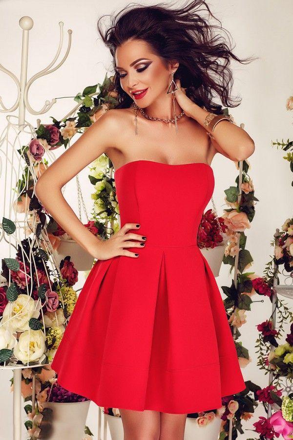 Abito corto rosso - modello princess - scollatura a cuore - Abbigliamento » Moda Mania