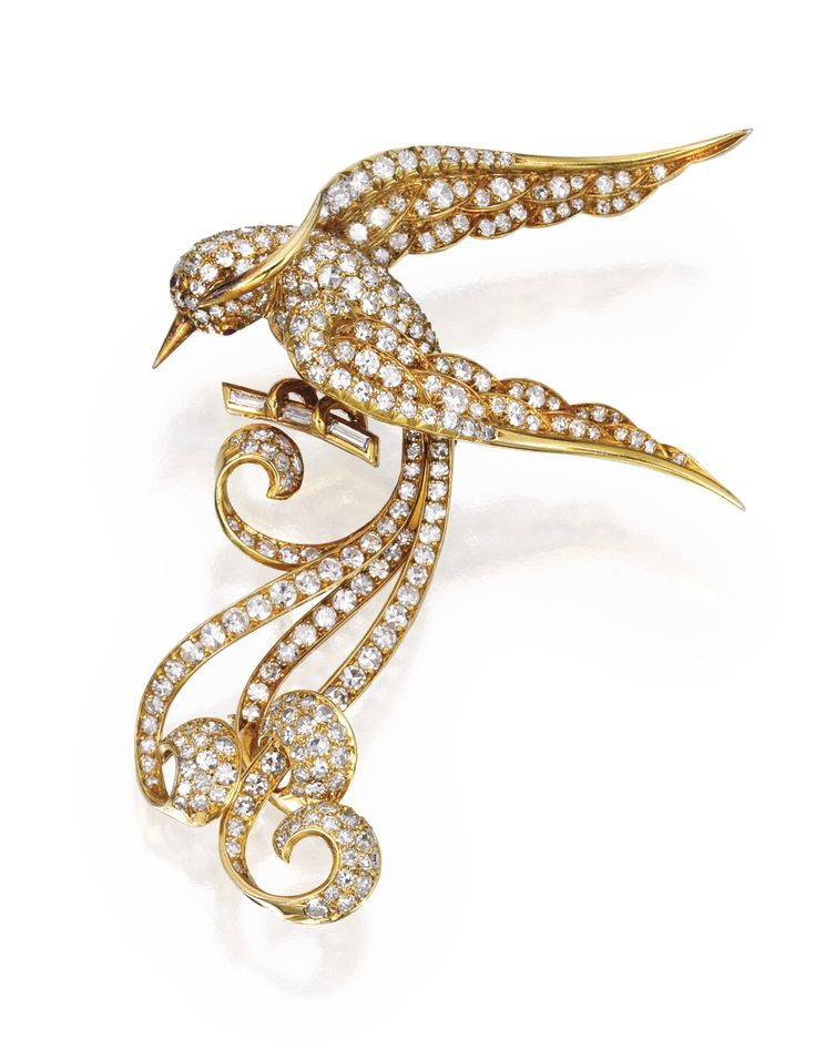 18 KARAT GOLD, DIAMOND AND RUBY BROOCH, FRANCE