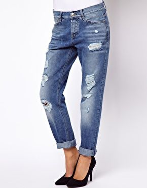Image 1 ofASOS Brady Low Rise Slim Boyfriend Jeans in Vintage Wash with Rips // I really want to get some good fitting blue jeans but I can't find any I like!