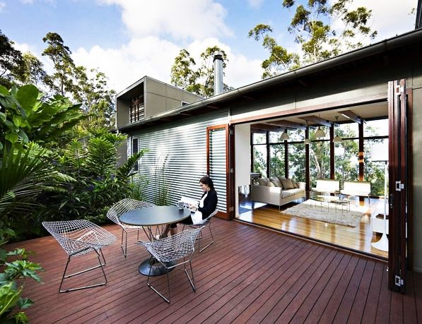 Architecture, Stylish Wooden Deck Design And Lush Vegetations Storrs Road Residence: Modern and Eco-friendly Home Design Ideas