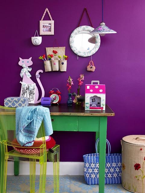 Purple wall | yellow chair