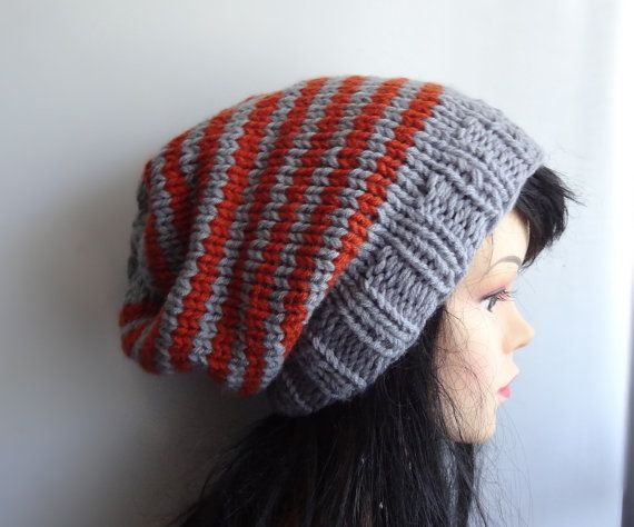 Hand Knit Hat women knit hat slouchy Mens Slouch Beanie by Ifonka