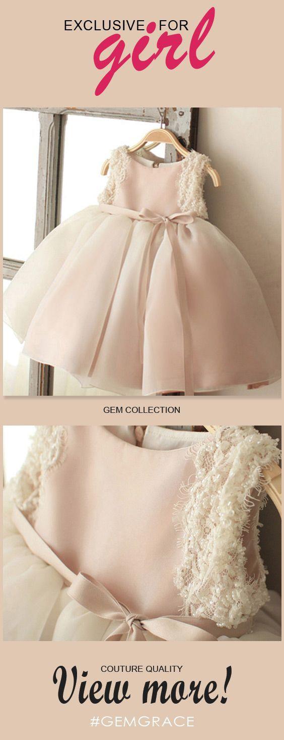 Vintage Blush Pink Tulle Flower Girl Dress Tutus Wedding ...