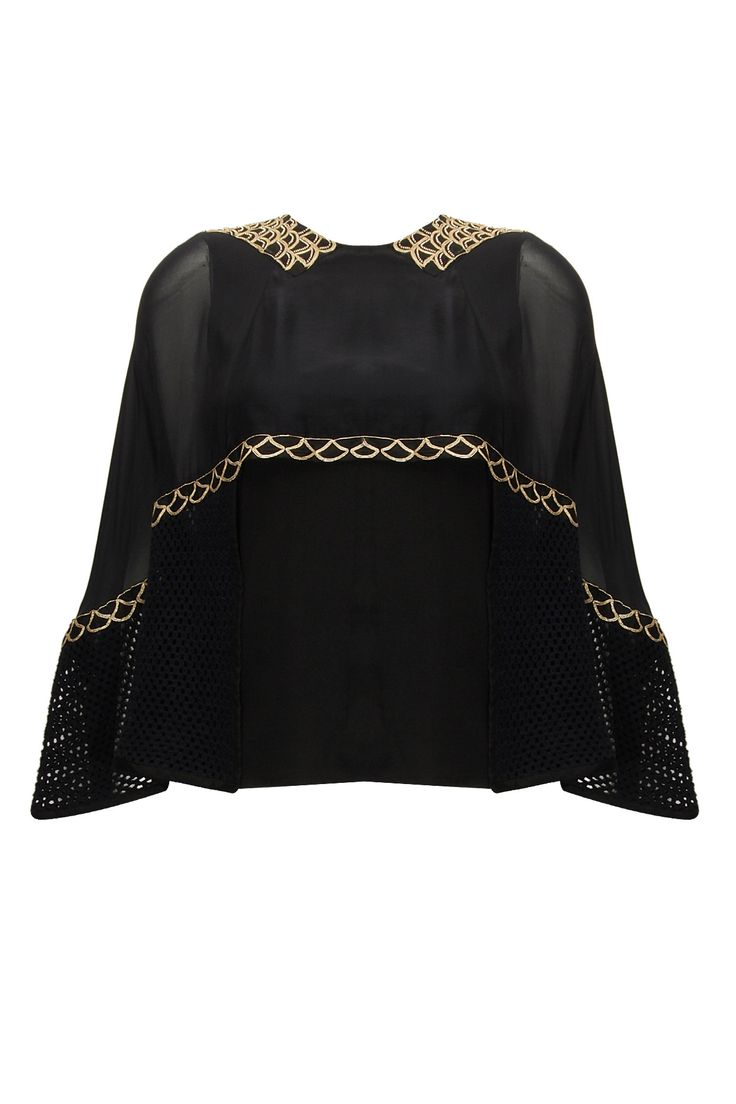 Black gota work cape top available only at Pernia's Pop-Up Shop.