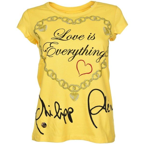 Love Is Everything T Shirt (€260) ❤ liked on Polyvore featuring tops, t-shirts, giallo, round neck t shirts, philipp plein, short sleeve t shirt, short sleeve tops and philipp plein t shirt