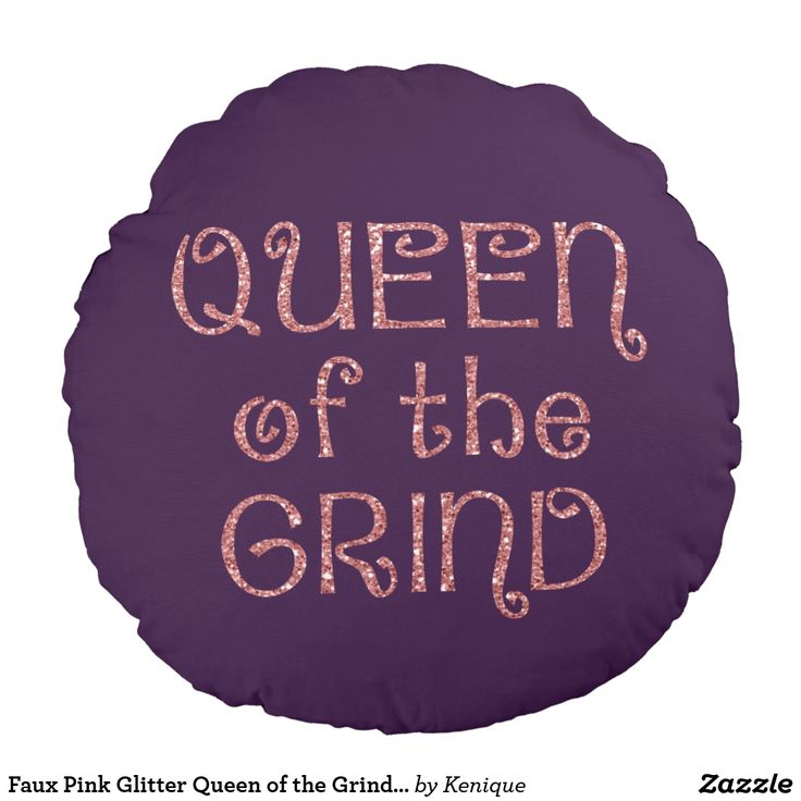Faux Pink Glitter Queen of the Grind Reversible Round Pillow