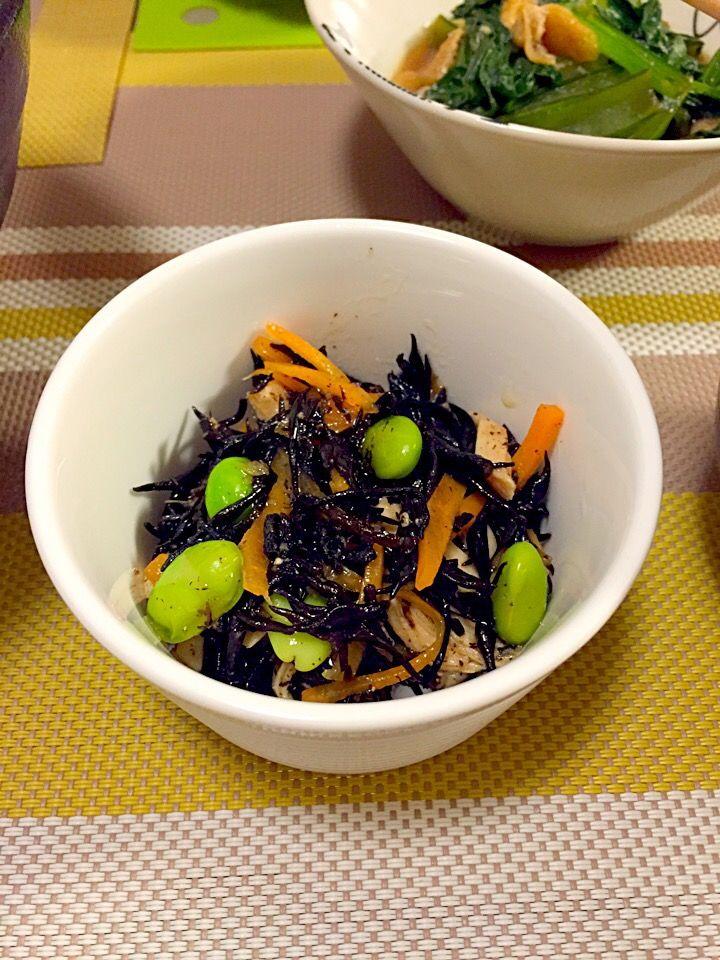 ひじき、枝豆、にんじん、ささみ 美味しくできた♬ - 常備菜 by naaho