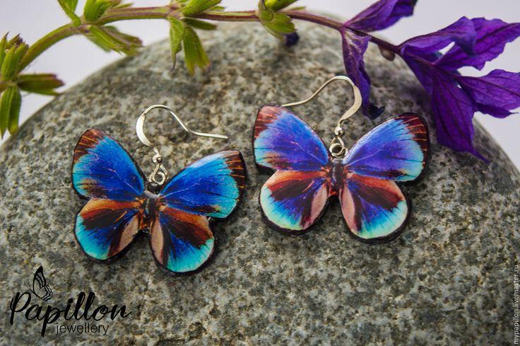 Купить Серьги Бабочки фиолетовые - фиолетовый, серьги ручной работы, серьги…