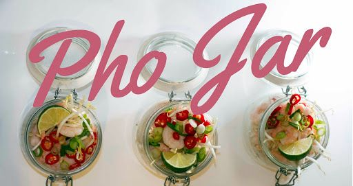 Prepare Ahead - Vietnamese Pho Jar With Rice Noodles, Dessert, Beansprouts, Dessert, Spring Onions, Red Chili Peppers, Lime, Prawns