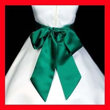 HUNTER GREEN WEDDING FLOWER GIRL DRESS SATIN SASH BOW #Dress