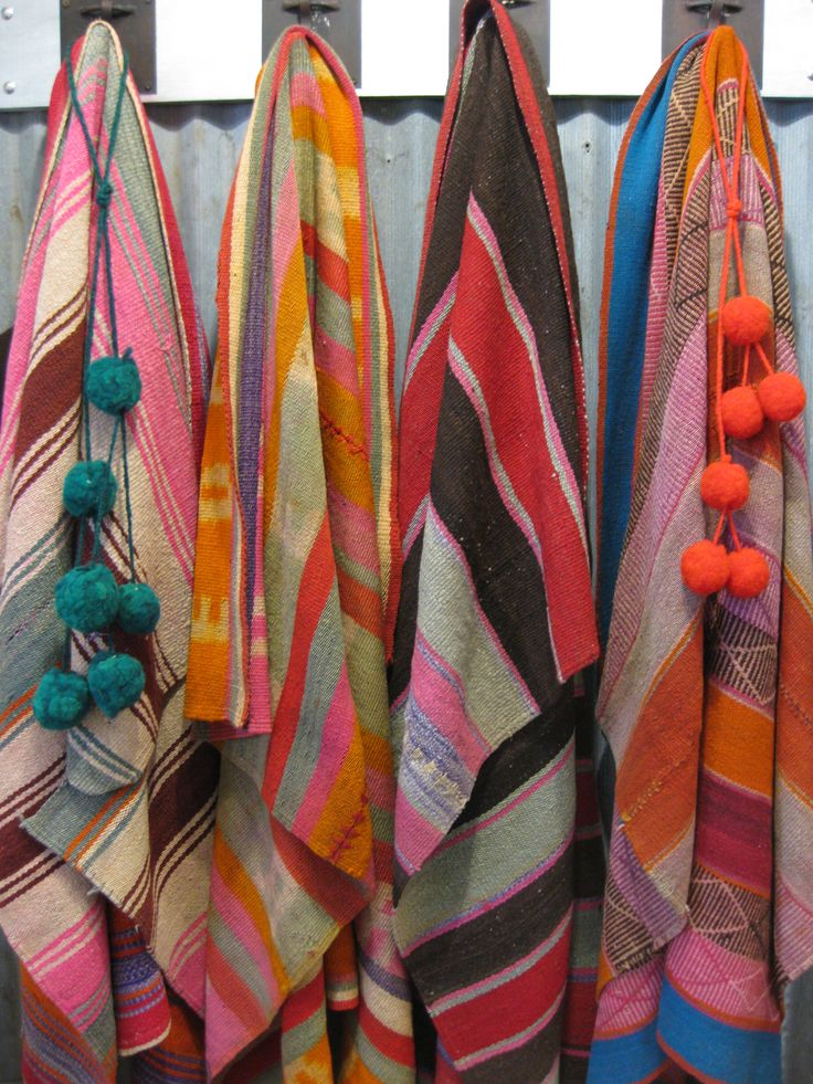 Vintage vegetable dyed textile throws from Argentina